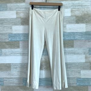 WHBM Faux Suede Wide Leg Crop Pants Ivory